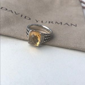 David Yurman Citrine + Diamond Petite Wheaton Ring